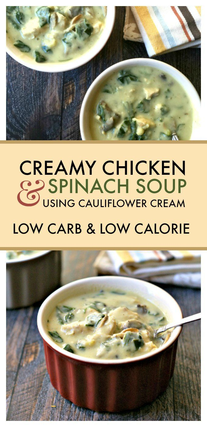 Try this delicious, creamy chicken & spinach soup, that uses cauliflower cream sauce so it's dairy free, Paleo and low carb too! Only 135 calories and 4.0g net carbs.