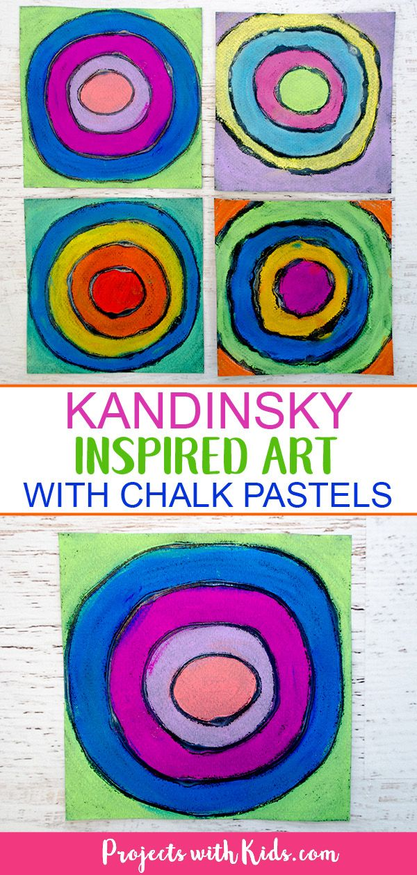 Easy Kandinsky Art For Kids With Chalk Pastels Art Therapy With