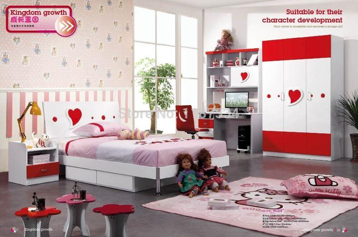 9028 Дети шкаф кровать, тумбочка, стол стул набор мебели для спальни деревянная детская мебель