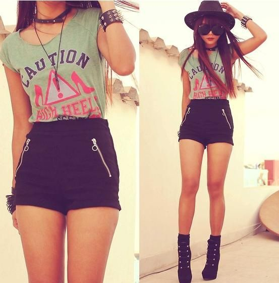 cute high waisted shorts | My Style | Pinterest