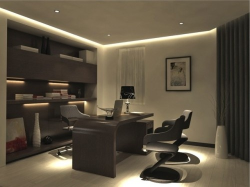 Nice recessed lighting and desk. LD16 and Warm White