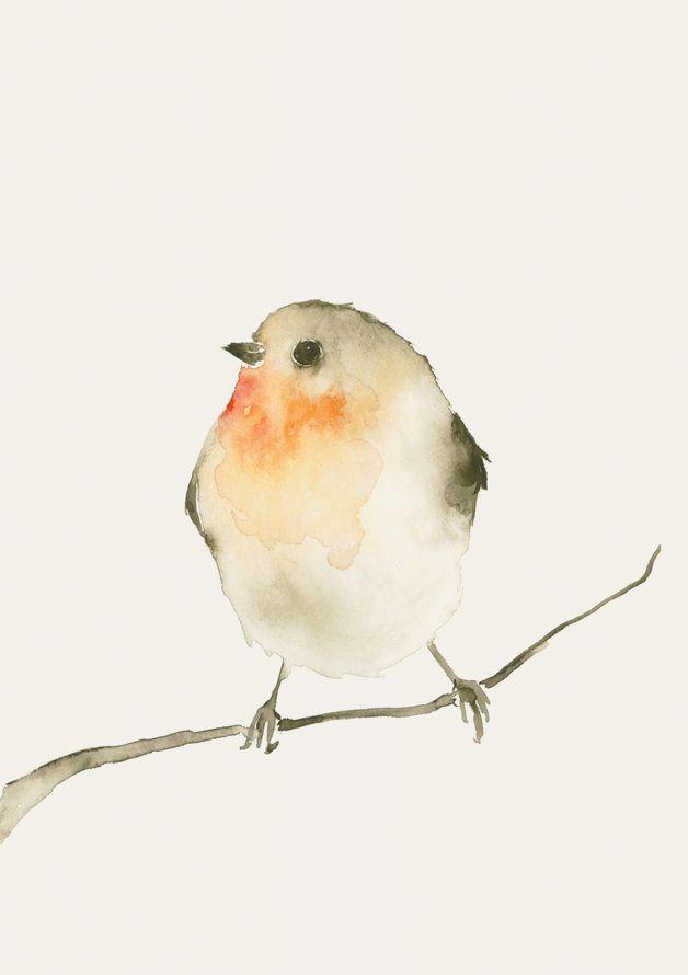 Fine Art Druck nach meinem Original Aquarell eines kleinen Rotkehlchens. Gedruckt auf exquisitem Hahnemühle Torchon Künstlerpapier.  Der Druck misst 12 x 17 cm. Ungerahmt. Signiert und datiert auf...