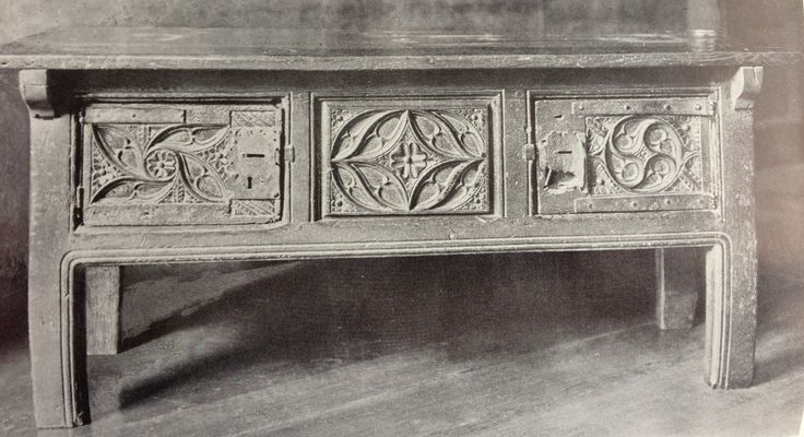 Gothic carved Tudor hutch table