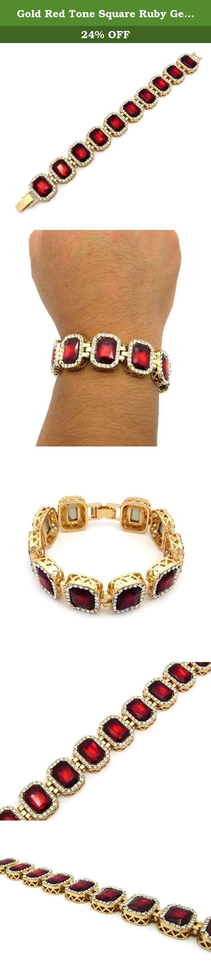"Gold Red Tone Square Ruby Gemstone 8.25"" Bracelet XB420GRD. Gold Red Tone Square Ruby Gemstone 8.25"" Bracelet."