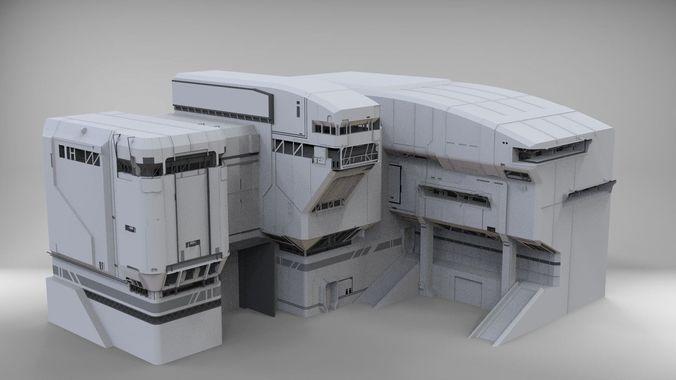 Halo Sci Fi Architecture 3d Model Concept Architecture