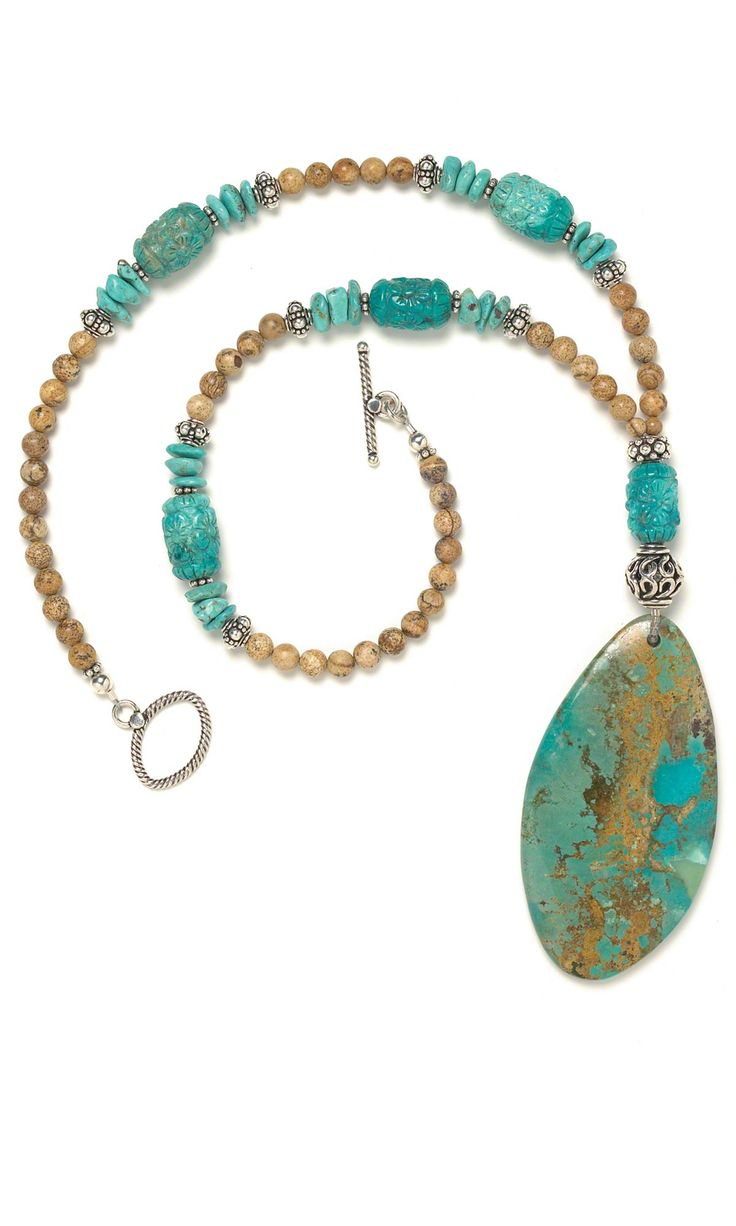 jewelry design single strand necklace with turquoise and picture jasper gemstone beads fire