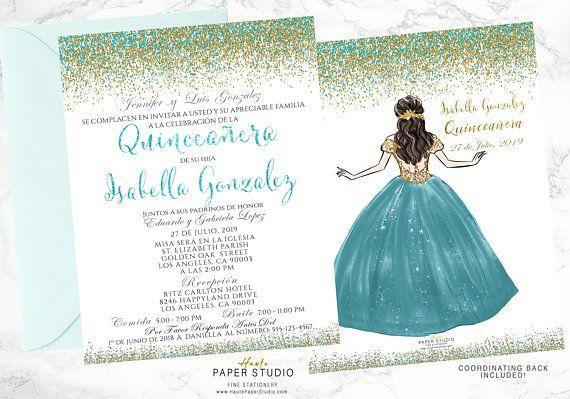 Quince Invitation 15 Años Invitation Quinceanera Princess Invitation Personalized Invite Teal Invite Sweet 16 Invitaciones 15 Años BDQ008
