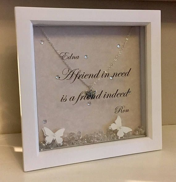 A pretty pink sparkly box frame with free personalisation of any two names (please message me via Etsy messenger after purchase). A silver plated chain and butterfly pendant, lots of sparkles and loose paper butterflies and gems in the base. Poem reads ' A friend in need is a friend