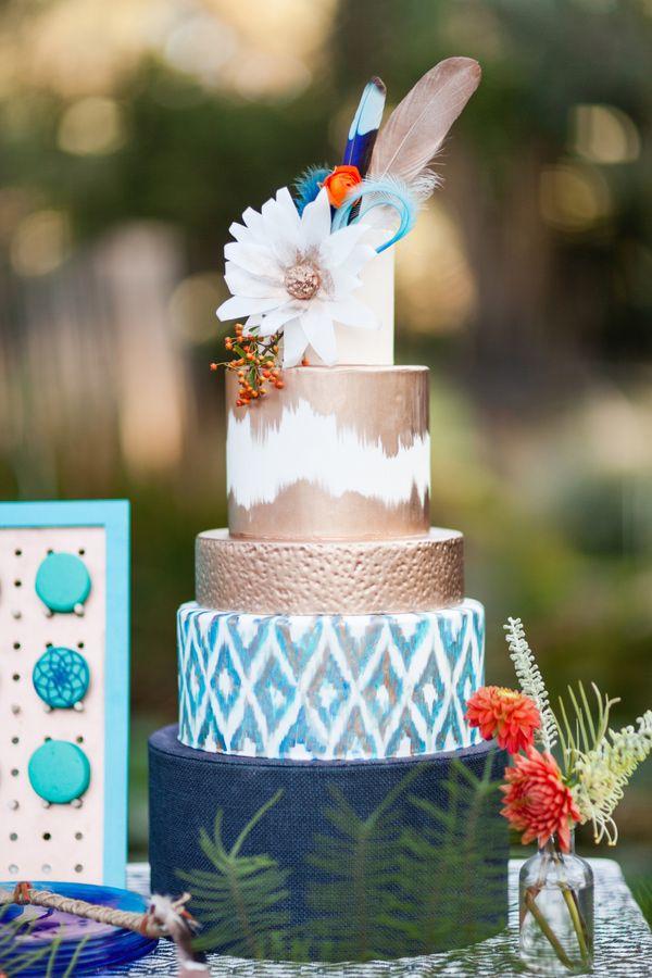 bohemian wedding cake, photo by Olivia Smartt Photography http://ruffledblog.com/bohemian-desert-wedding-with-mid-century-influence #ikat #weddingcake #cakes