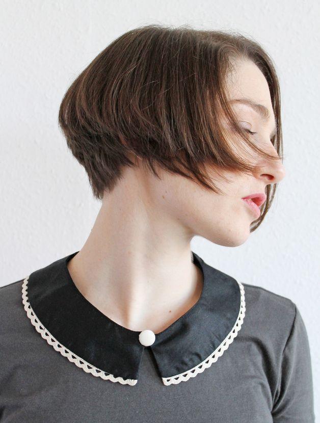 Kragen - Feiner Bubikragen Satin Baumwolle Schwarz Spitze - ein Designerstück von espendru bei DaWanda