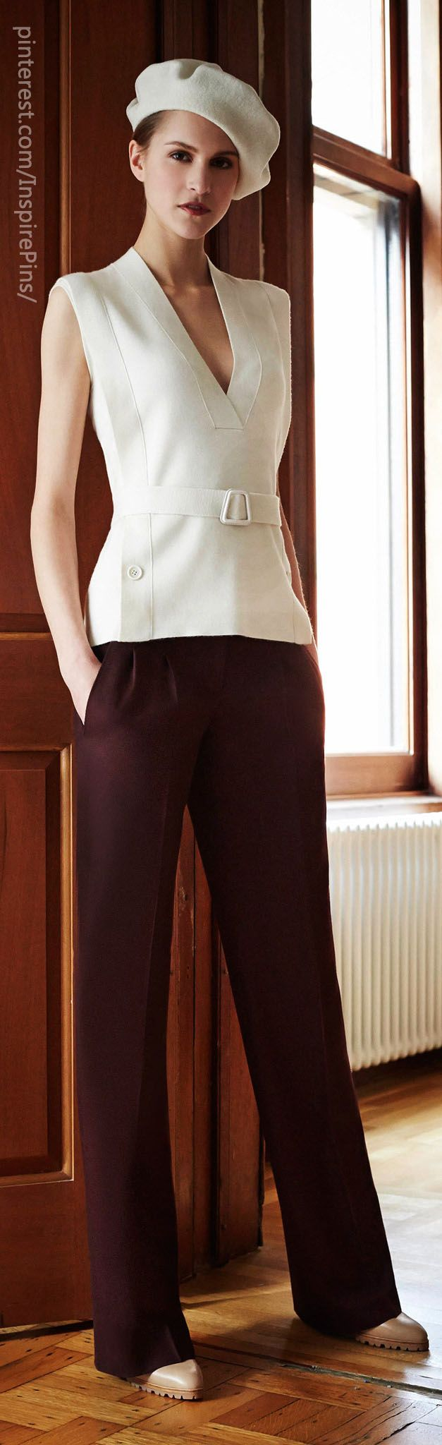 Akris Pre-Fall 2014, business woman, work style, high class, classy model, hat, brown, white