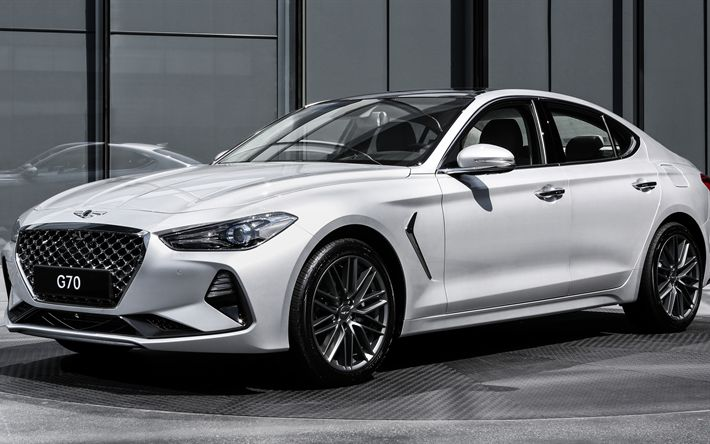 Download wallpapers Genesis G70, 2018, 4k, luxury white sedan, white G70, new cars, Genesis