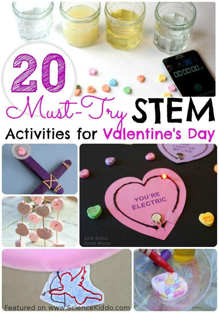 A collection of over 20 of must-try Valentine's Day STEM activities for kids! Ideas for Valentine's Day science experiments, technology activities, engineering challenges, and hands-on math learning. Perfect for parents, teachers, and homeschoolers who are looking for heart-themed learning activities. #sciencekiddo #kidsscience #valentinesdayscience #STEM #scienceforkids