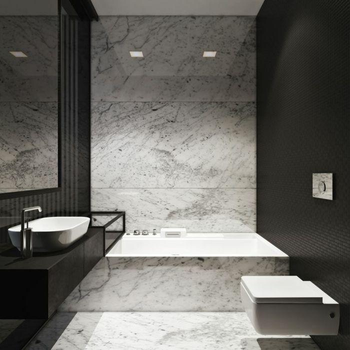 Les 25 meilleures id es de la cat gorie salles de bains en - Salle de bain moderne noir et blanc ...