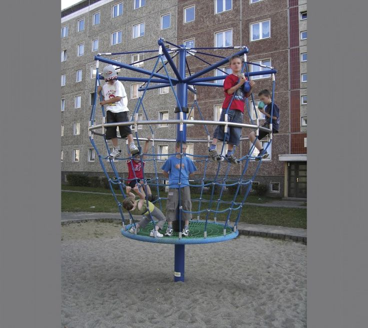 The Pylon Suspension Tower Carousel is a 3.3 m high rotating climbing basket for all ages. It allows team interaction. Designed for 25 kids at a time! #RotatingTowers #PlaygroundCentre #PlaySpace #Playground #Fun #Play #PylonSuspensionTowerCarousel
