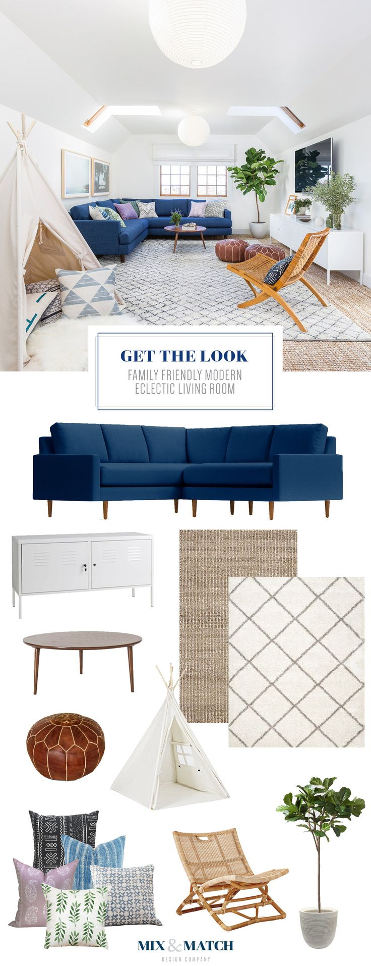 Want to know all the sources to get the look of this family friendly modern eclectic living room? Head to the blog! // Modern eclectic living room, modern living room, blue sofa, kid-friendly living room