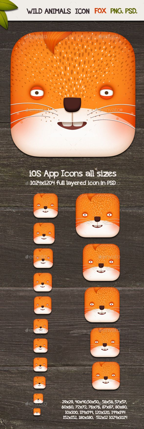 Wild animals Fox icon,A nice Icon for your next Application or Design. The Background of the Preview Image is not included. iOS Ap