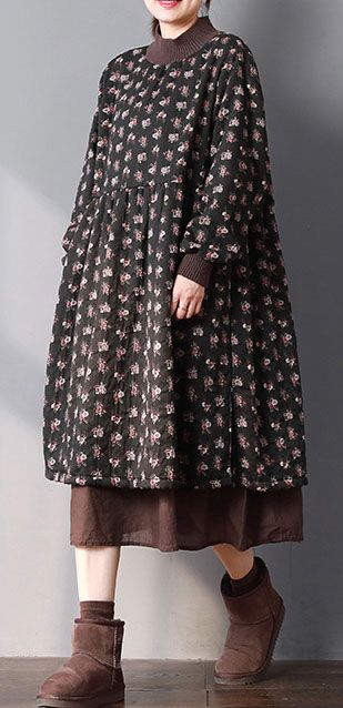 b87717c0d83 Fine black print spring dress Loose fitting gown patchwork O neck ...