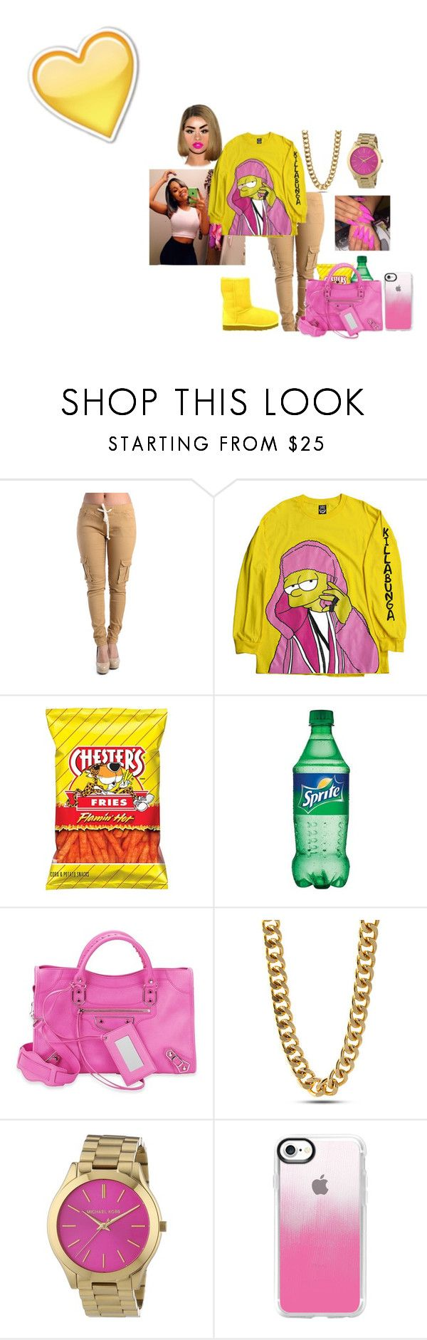 """Bodak Yellow"" by nbak10x ❤ liked on Polyvore featuring UGG Australia, Balenciaga, King Ice, Michael Kors and Casetify"