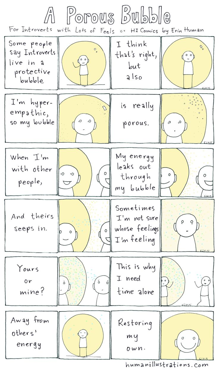 Empaths & Highly Sensitive People  (HSP) •~• A Porous Bubble: For Introverts with Lots of Feels * HI Comics by Erin Human