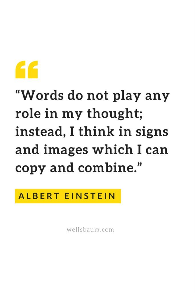 """Words do not play any role in my thought; instead, I think in signs and images which I can copy and combine."" — Albert Einstein #quotes #einstein #quoteoftheday"