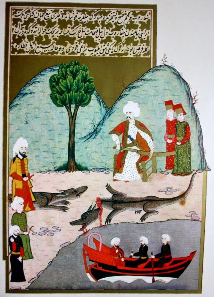 Hünername'den Mehmed Bursavi çizgileri ile Yavuz sultan Selim hanın Nil nehri kıyısında kılıcı ile bir timsahı kesmesi minyatürü.