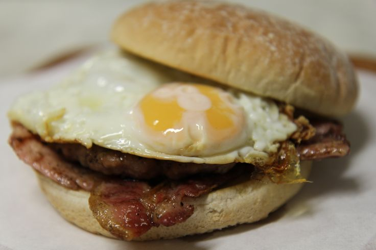 Bacon and egg butty at Cafe 53