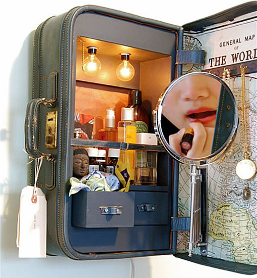 vintage suitcase cabinet Quirky Uses for Vintage Suitcases