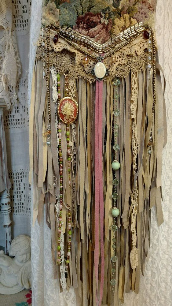 Handmade Vintage Lace Tan Suede Fringe Cross Body Bag Hippie Gypsy Purse tmyers #Handmade #MessengerCrossBody