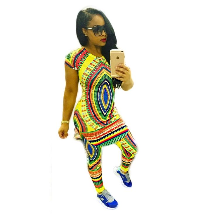 Summer  Traditional African Clothing Tops Pants Two Piece Set Women Africaine