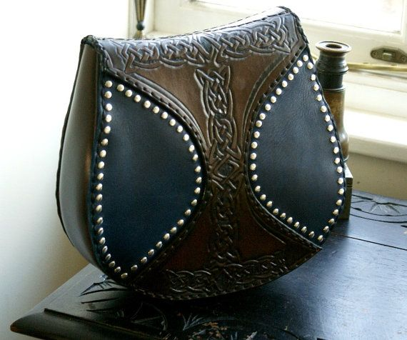 Celtic leather mystic tools carrier for ren faire and