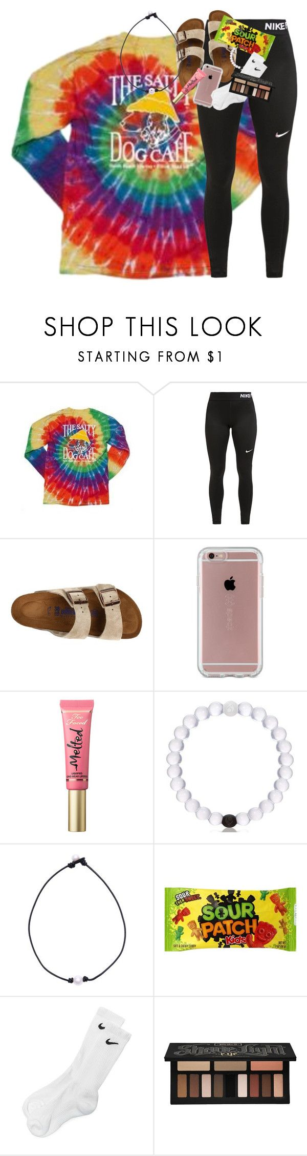 nike shoes haul in description!! by classynsouthern ❤ liked on Polyvore featuring NIKE, Birkenstock, Speck, Too Faced Cosmetics and Kat Von D