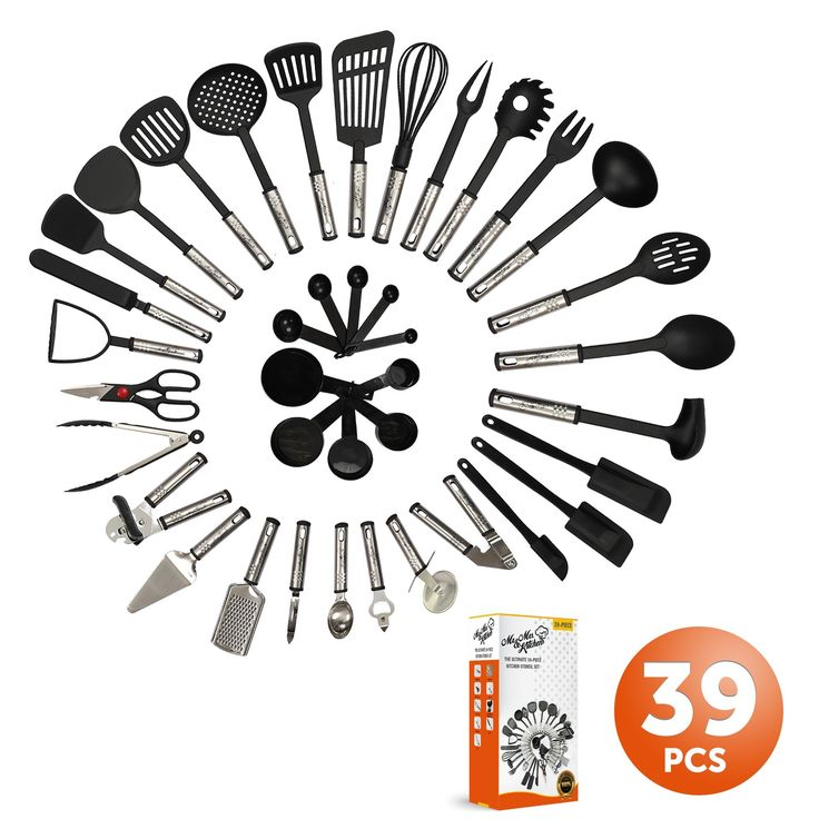 Mr. & Mrs. Kitchen Cooking Utensils Set - 39 Piece Premium Tool and Gadget Set Stainless Steel And Nylon - Turners, Tongs, Spatulas, Pizza Cutter, Whisk, Bottle Opener, Grater, Peeler, Can Opener