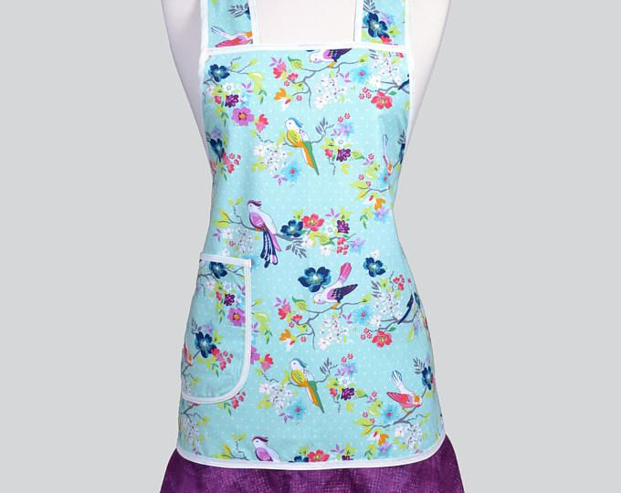 Womens Flirty Flounce Chef Apron - Cute Birds Perched on Mint Green Frilly Purple Retro Style Kitchen Cute Cooking Apron - Pockets (CS)