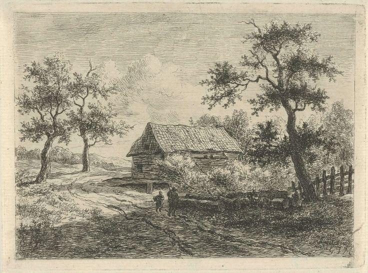Gerrit Jan Michaëlis | Landschap met twee figuren op weg, Gerrit Jan Michaëlis, 1785 - 1857 | Op een weg lopen een man en een kind langs enkele boomstammen. Op de achtergrond bomen en een boerderij.