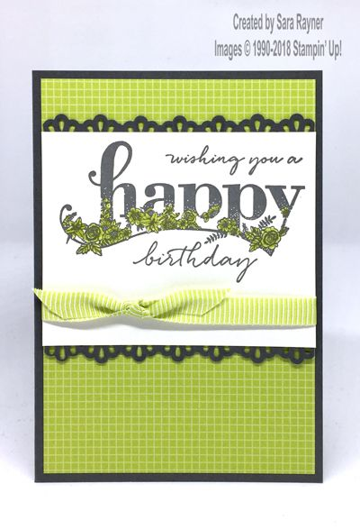 Birthday card using Happy Wishes freebie SAB set from Stampin' Up!