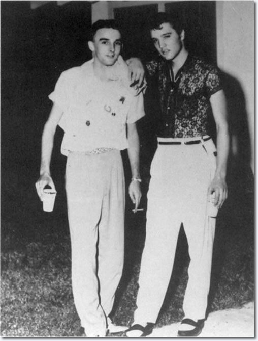 July 15, 1955 - Elvis and David Madalozzo, a serviceman from Pekin, Illinois stationed nearby at Barksdale AFB. On the night of the show at the Joy Drive-In Theatre in Minden, LA, he took photos of the performance