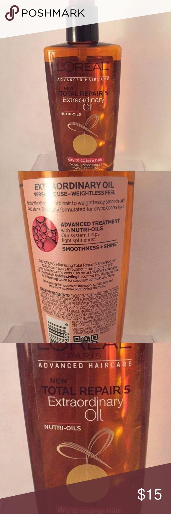 LOREAL Total Repair 5 Extraordinary Oil LOREAL Total Repair 5 Extraordinary Oil with Nutri-oils. Leave-in treatment. Treats dry to coarse hair to restore condition. 3.4 ounces / 100ml Full Size LOREAL Makeup