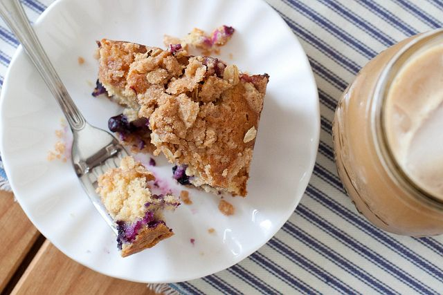 Whole Grain Blueberry Buckle Coffeecake with streusel topping