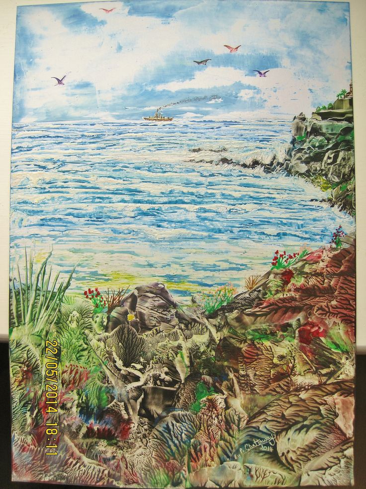 Encaustic Art using beeswax and travel iron and stylus.size A4,IMG 1378,Titled-DAY AT THE SEASIDE.Done may 2014.By Peter Chattaway.uk.