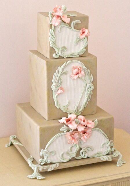 An Art Nouveau themed wedding cake