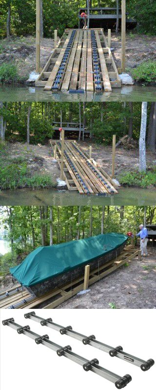 Homemade boat ramp! Use these rollers for ramp ideas or a quick and easy way to upgrade bunk-style trailers into rollers. Rollers feature durable, water-resistant inner surface and soft, boat-cushioning outer surface!