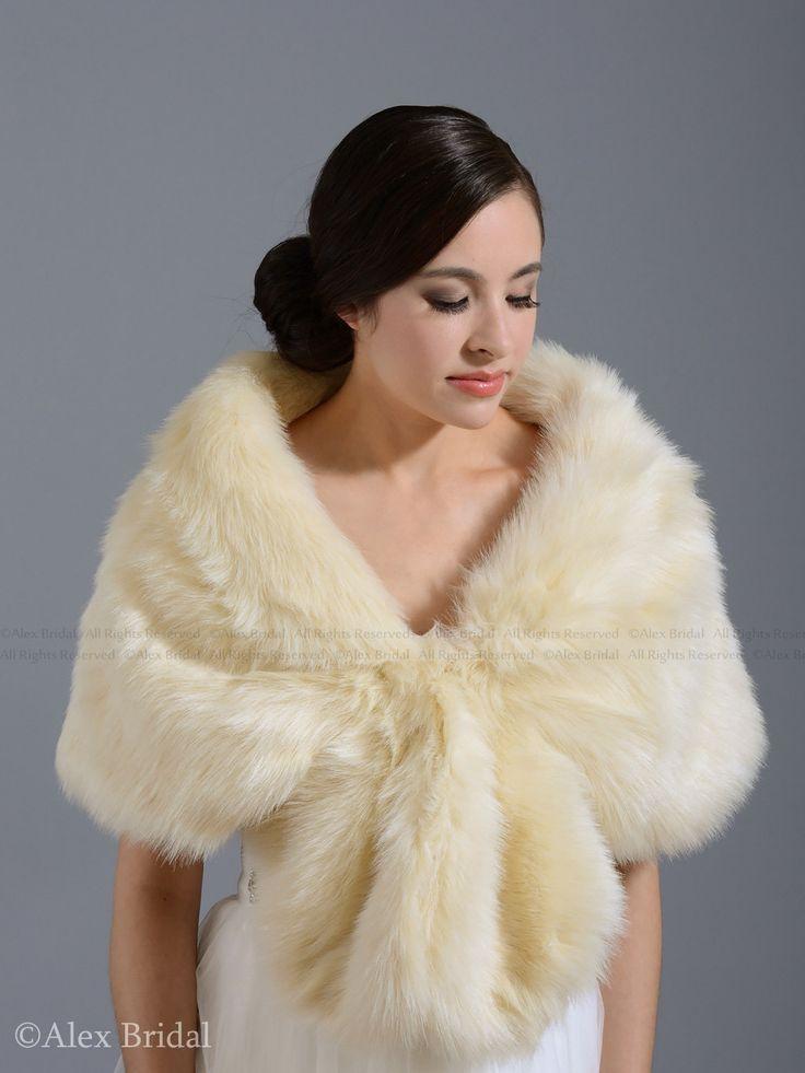 Champagne faux fur wrap bridal wrap faux fur shrug by alexbridal, $69.99