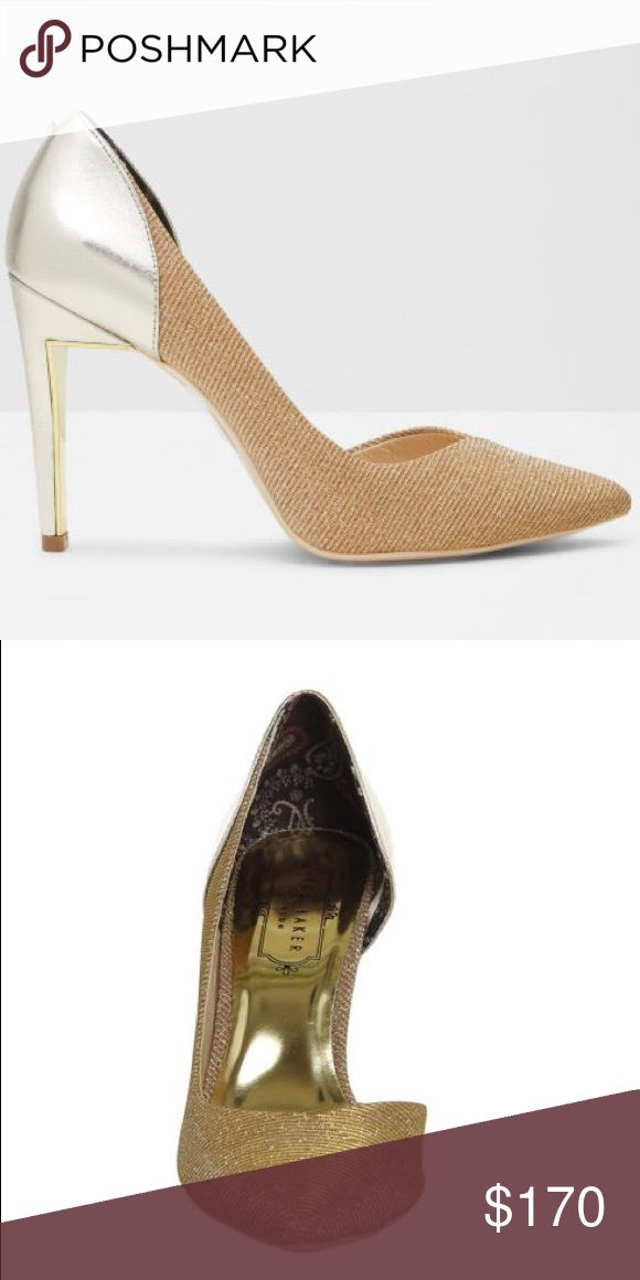 Ted Baker Giulla D'orsay Metallic Pump Gorgeous barely worn metallic gold pointy toe pump Ted Baker Shoes Heels