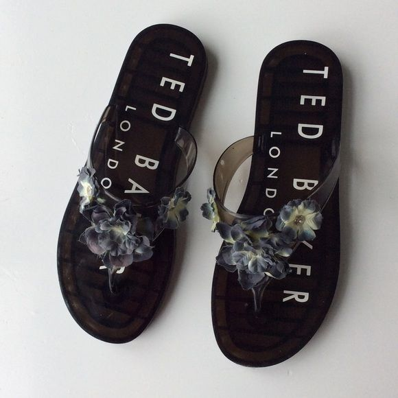 Ted Baker Jelly Sandal Ted Baker jelly sandal flip flop with poly-silk flowers, great condition worn only a few times Ted Baker Shoes Sandals