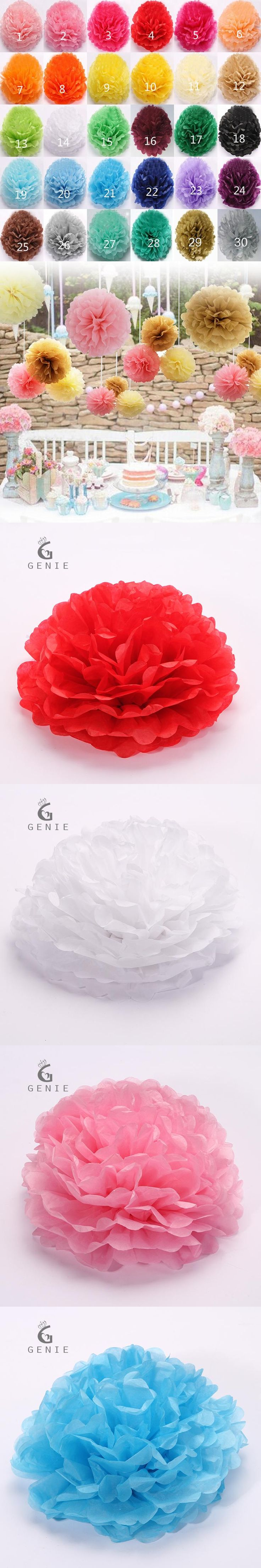 Genie 20 PCS Paper Ball Flowers 30 Colors Multi Size DIY Home Birthday  Party Wedding Car