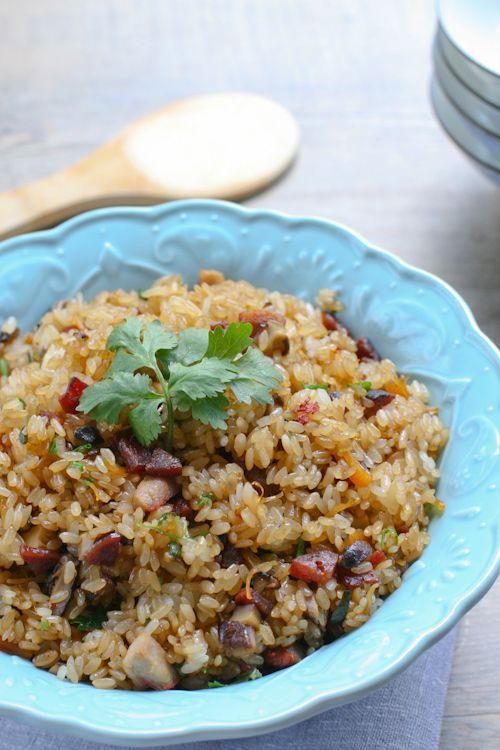 Fried Mochi Rice - sweet rice, shiitake mushrooms, cilantro, green ...