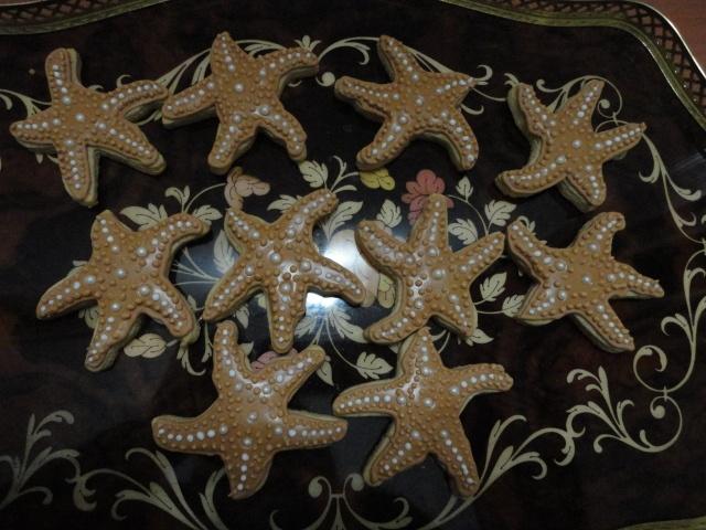Stelle marine decorate con ghiaccia