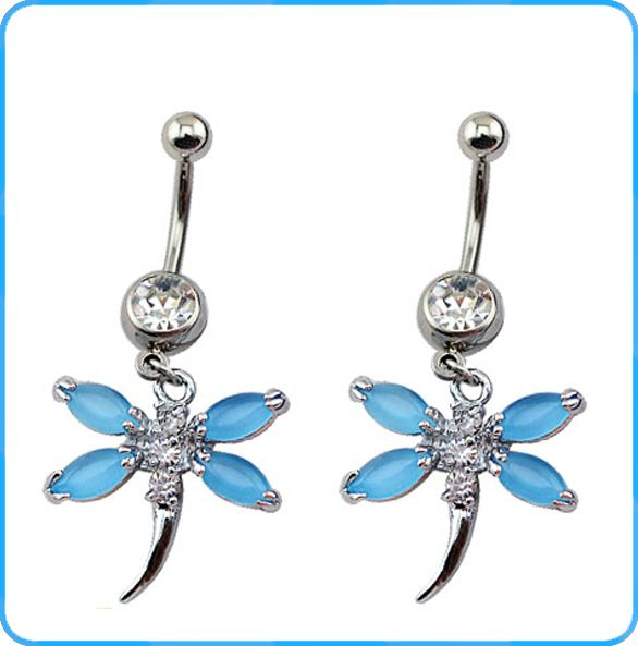 BR01447 crystal stainless steel belly navel rings with dragonfly pendant of…