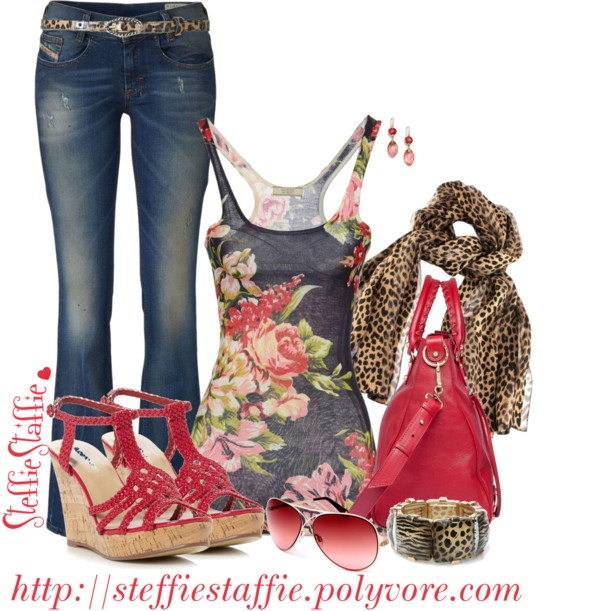 """""""Mixed Patterns: Cheetah & Flowers"""" by steffiestaffie on Polyvore"""
